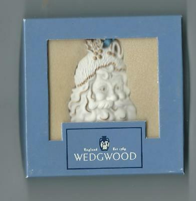 Wedgwood  Christmas Ornament White Jasper Santa W/gold , In Box