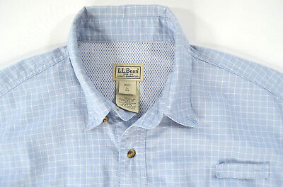 LL Bean Mens Large Vented Shirt Embroidered Fishing Outdoor Hiking Blue Striped