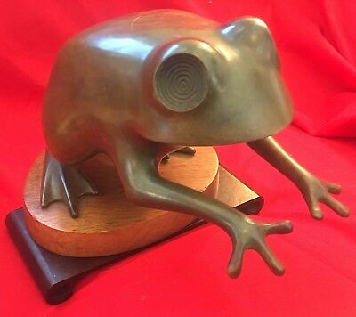 """1966 Limited Hand-sculpted Antique 9"""" Frog Sculpture by G. Alan Albright, signed"""