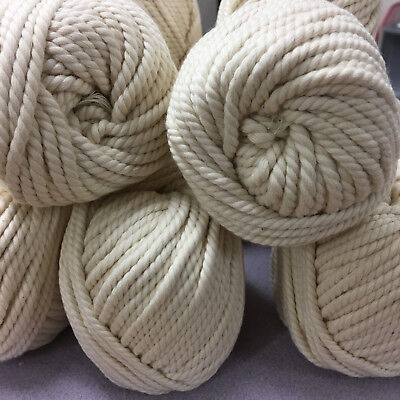 CREAM Macrame 100% Cotton ROPE - 3-4mm 3 ply twisted wall art/macrame/looms
