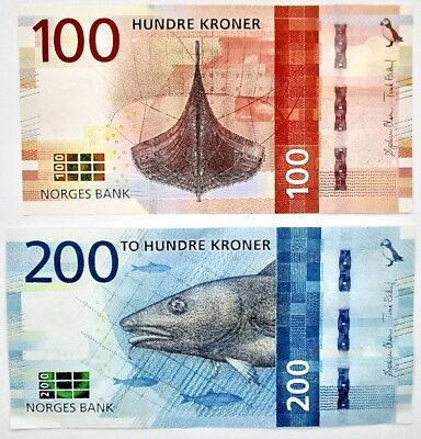 Norway 200 & 100 Kroner New 2016 UNC Uncirculated Bank Note Lot of 2