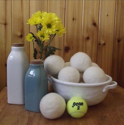6 Large Unscented Wool Dryer Balls