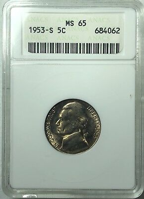 1953 S Jefferson Nickel certified MS-65 by ANACS - Beautiful Nickel!!!!