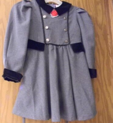 Vintage Girl's size 6 gray with black velvet collar & trim silver buttons dress