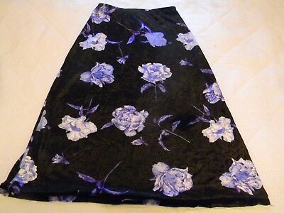 Girls size 7 skirt 100% cotton velour blue purple floral length 24 waist 19-22""