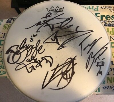 Michale Graves Argyle Goolsby Tony Baptist Carlos Cofino drum head signed punk
