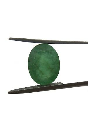 3.41Cts Natural Zambian Emerald 11X9MM Faceted Oval Cut Loose Gemstone