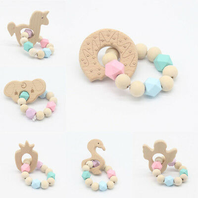 Baby Infant Wooden Chewable Teether Bracelet Silicone Beads Rattle Teething Toys