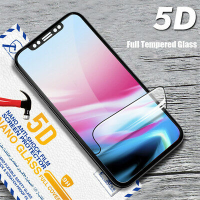 """For iPhone Xs Max 6.5"""" Xr 6.1"""" Tempered Glass Screen Protector Film Covers Black"""