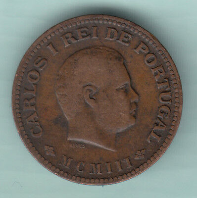Portuguese Colonial India 1903 Extremely RARE 1/4 Tanga Copper Coin Carlos B88