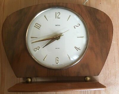 Vintage Smith Sectric electric mantel clock. Wooden surround - made in GB 1960s