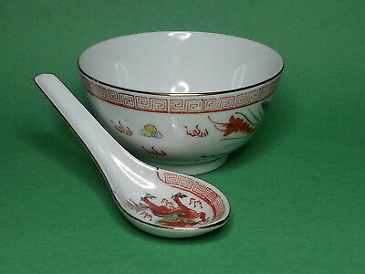 Set Miso Rice Soup Bowls Spoons Matching Spoon And Bowl Porcelain Made in China