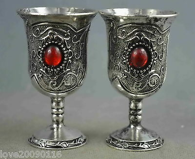 Collectible Handwork Miao Silver Carve Flower Rattan Inlay Agate Lucky Wine Cups
