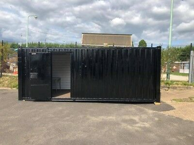Portable Office / Canteen Shipping Container Unit Black Good Condition 8 X 21Ft