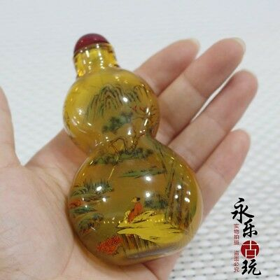 Chinese art Old glass handwork Inside painting landscape Snuff / Perfume Bottle