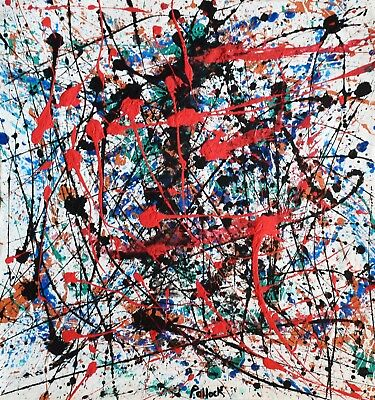 Vintage Abstract Canvas Signed Pollock, Modern Old 20th Century Art