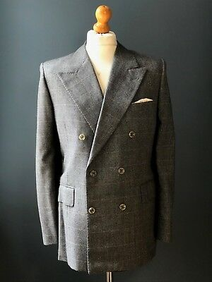 Vintage bespoke grey double breasted prince of Wales suit size 40 42