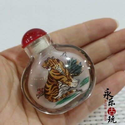 Chinese art Old Glass handwork Inside painting tiger Snuff / Perfume Bottle