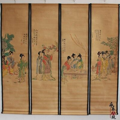 Collectible set of 4 Decor China Scroll Painting Chinese ancient beauty figure