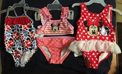 3-6 Months Minnie Mouse And Hearts Bikini Girls Bathing Suit Lot Of 3