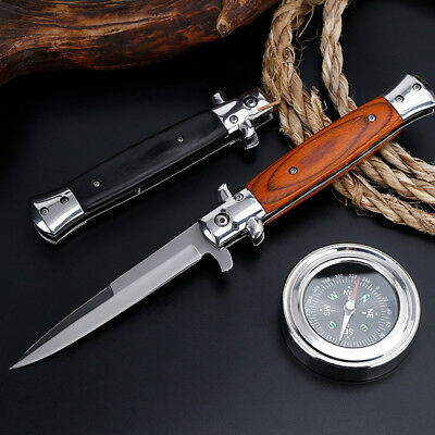 "9"" Stiletto Milano Tactical Wood Spring Assisted Folding Knife Pocket Blade Open"