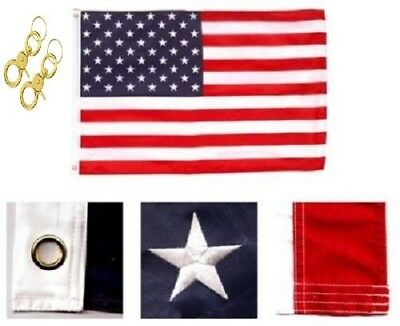 8x12 Ft Embroidered Sewn U.S. USA American 50 Star Nylon Flag grommets w/ clips