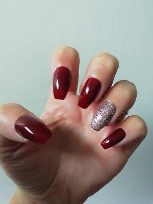 Hand Painted False Nails, Deep Red Shiny Glossy Bronze Glitter, Coffin Stiletto