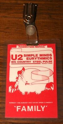 U2 Authentic War Tour Family Laminated Pass 14 August 1983 Phoenix Park Dublin