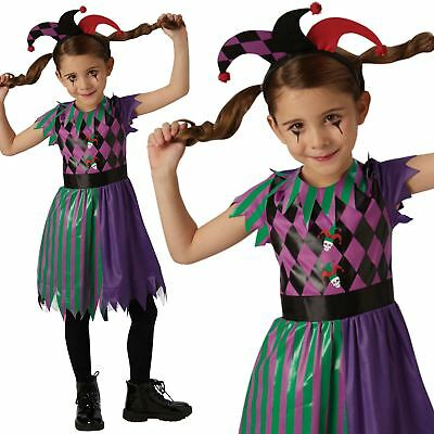 Kids Girls Harlequin Jester Circus Fancy Dress Halloween Costume Outfit New