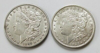 2x United States of America 1884 & 1921 Morgan One Dollar .900 Silver Coins