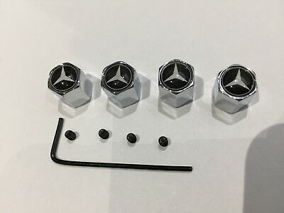 4 x Chrome Tyre Valve Dust Caps Mercedes Benz x 4 Alloy Wheel anti theft lock