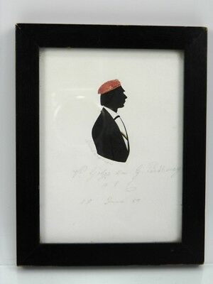Silhouette portrait painting German gentleman antique 19th century 1857 31