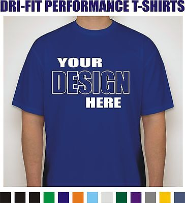 12 Custom Screen Printed Dri-Fit Moisture Wicking Dry T-Shirts - 1 color/2 sides