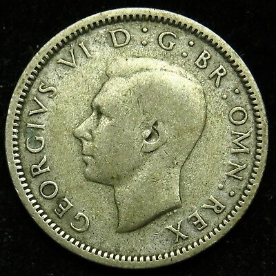 1937 UK Great Britain England George VI Silver Six Pence (B01)