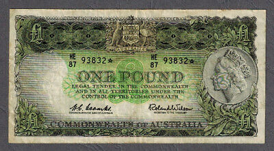 Commonwealth of Australia 1961 QEII Coombs/Wilson One Pound Star Note R34Sb