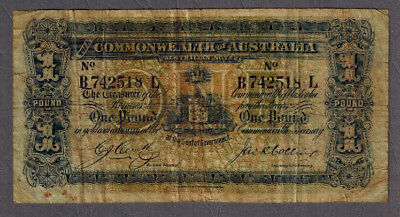 Rare Commonwealth of Australia 1918 KGV Cerutty/Collins One Pound Banknote R21