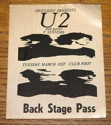 U2 Authentic Boy Tour Cloth Back Stage Pass Club Foot Texas 31 March 1981