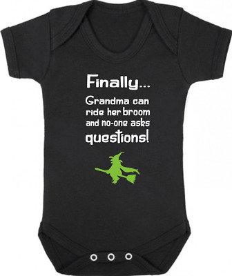 GRANDMA CAN RIDE HER BROOM New Bodysuit/Grow/Vest, Gift, Baby Shower, HALLOWEEN
