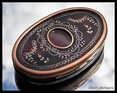 VERY RARE CHARLES II GOLD & SILVER PIQUE faux TORTOISESHELL & WOODEN SNUFF BOX