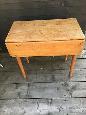Victorian pine Pembroke drop leaf table, useful drawer, supported on turned legs