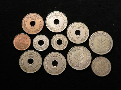 Palestine Collection of 11x Coins 1927 to 1942