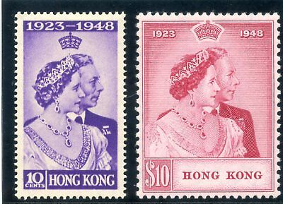Hong Kong 1948 KGVI Silver Wedding set complete MLH. SG 171-172. Sc 178-179.