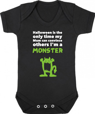 I'M A MONSTER New Bodysuit/Grow/Vest/Romper, Gift, Baby Shower HALLOWEEN Costume