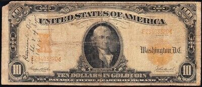 """1907 $10 Gold Certifciate """"World War 1 Contemporary Inscription"""" AWESOME HISTORY"""