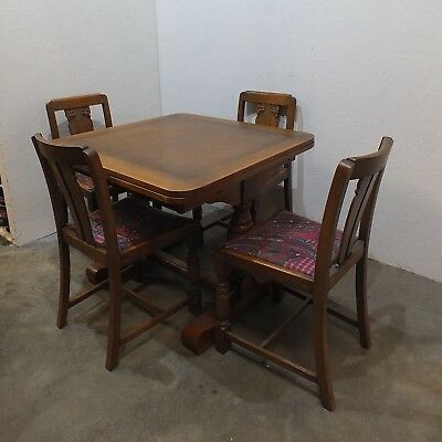 Vintage Art Deco Carved Oak Dining Table & 4 Chairs (26)