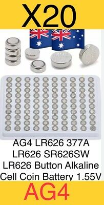 20x AG4 LR626 377A LR626 SR626SW LR626 Button Alkaline Cell Coin Battery 1.55V,