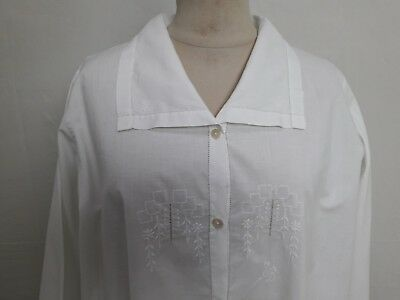 N08 ANCIENNE CHEMISE LONGUE BRODEE mono SB T38/40 OLD LONG EMBROIDERED SHIRT S/M