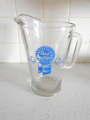 """Vintage PBR Pabst Blue Ribbon Glass Beverage Beer Pitcher 9"""" Collectible"""