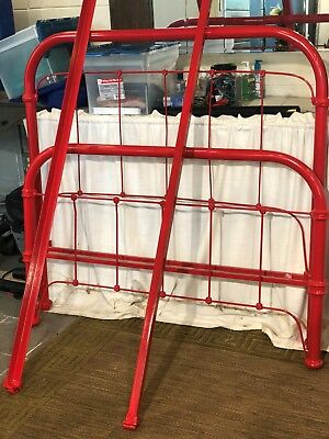 Antique Iron Bed, Full Sized, Professionally Powdercoated Fire Engine Red