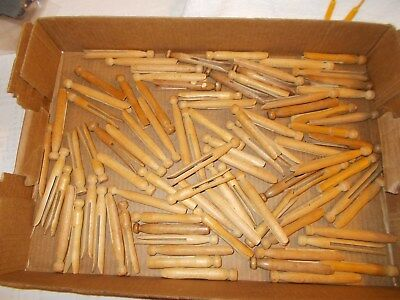 Lot of 87 Vintage Wood Clothes Pins Crafted & Used Wooden Clothespins
